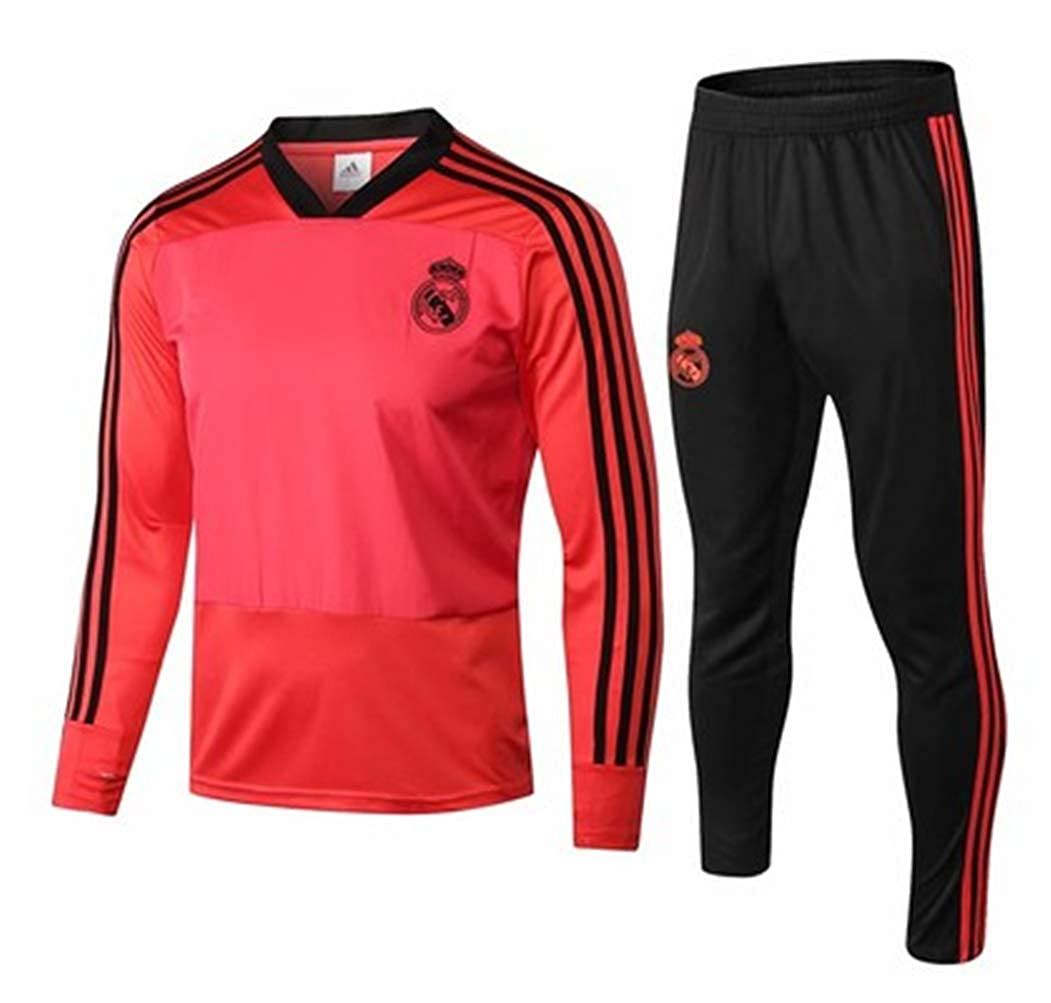 LISIMKE Real Madrid Kids Long Sleeve Soccer Tracksuit Track Jacket with Pants Youth Training Suit Football