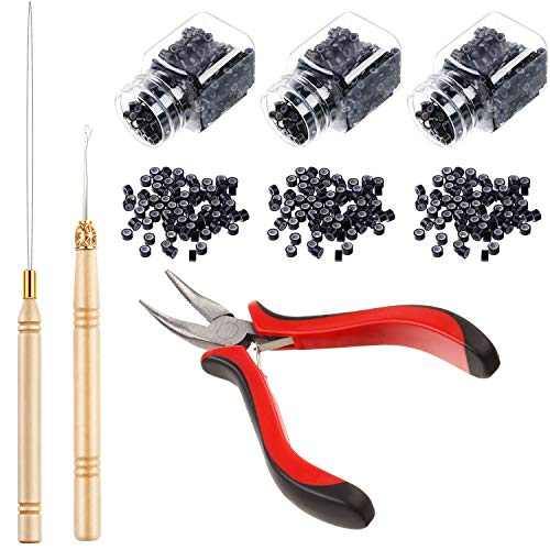 Hair Extension Kit Pliers Pulling Hook Bead Device Tool Kits and 1500 Pieces Silicone Lined Micro Rings (Black Beads)