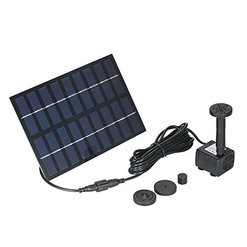 COSVII 1.8W Small Solar Water Pump with Different Water Flows, Solar Fountain for Bird Bath Garden Small Pond