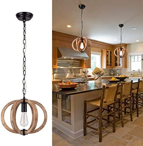 Vintage Wooden Chandelier Rustic Farmhouse Chandelier for Kitchen Island Dining Room, UL Listed Wires, Large, by YIFI