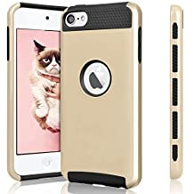 iPod Touch 5th & iPod Touch 6th Generation Case, Jwest 2in1 Style Hybrid Hard Cover Case for Apple iPod Touch 5 Generation ipod Touch 5th Generation/ipod Touch 6 Case (Gold+Black)
