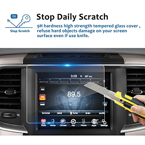 LFOTPP 2013-2019 Ram 1500 2500 3500 Uconnect 8.4 Inch Audio Touchscreen Display Screen Protector, Tempered Glass Car Navigation Protective Film 9H Anti-Scratch 1 - Front Dodge Cover