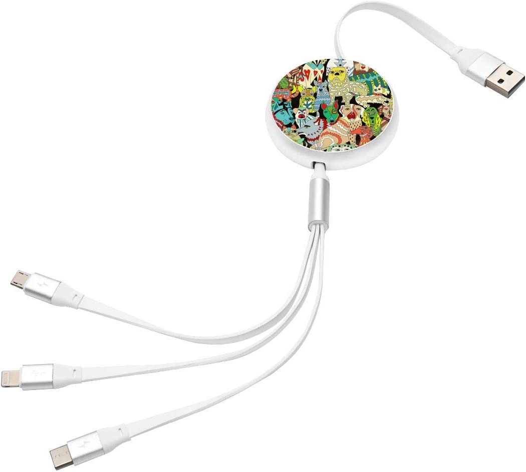 Abstract Panting 3 in 1 Multiple USB Stretch Charger Cord with Micro,Type C,iOS Connectors with Cell Phone Tablets More