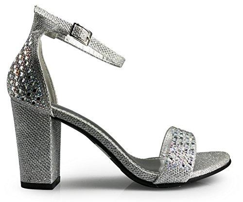 Ivk Femmes Ouvert Orteil Haut Mi-talon Sexy Cheville Sangle Sandales Robe Chaussures Pompe De Mariage Strass Chaussures Argent