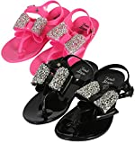 first steps Girls 2 Pack Jelly Thong Sandals with Jewel Bow, Black/Hot Pink, 6 M US Toddler'