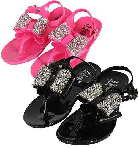 first steps Girls 2 Pack Jelly Thong Sandals with Jewel Bow, Black/Hot Pink, 6 M US (Jelly Thong)