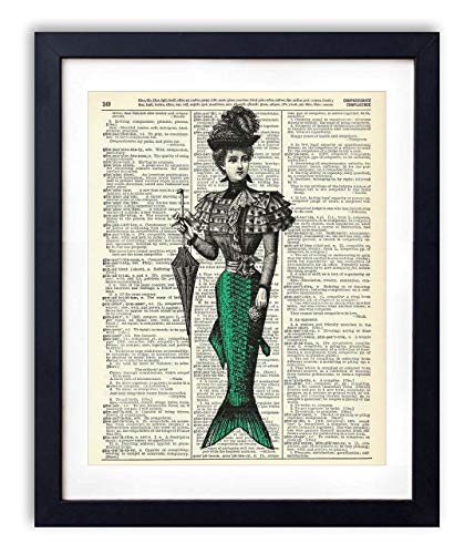 Victorian Mermaid Woman Illustration Vintage Upcycled Dictionary Art Print - 8x10 inches