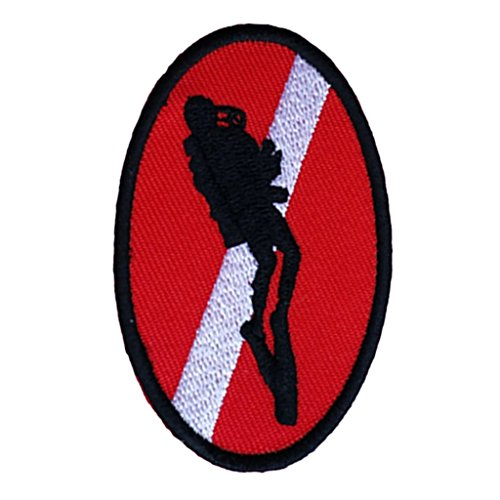 Scuba Patch - MagiDeal Ellipse Diver Down Flag Patch Patches Backpack Badge Scuba Diving Dive Iron On Embroidered