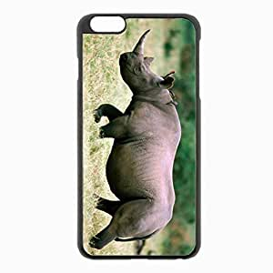 iPhone 6 Plus Black Hardshell Case 5.5inch - rhino grass walk sky Desin Images Protector Back Cover