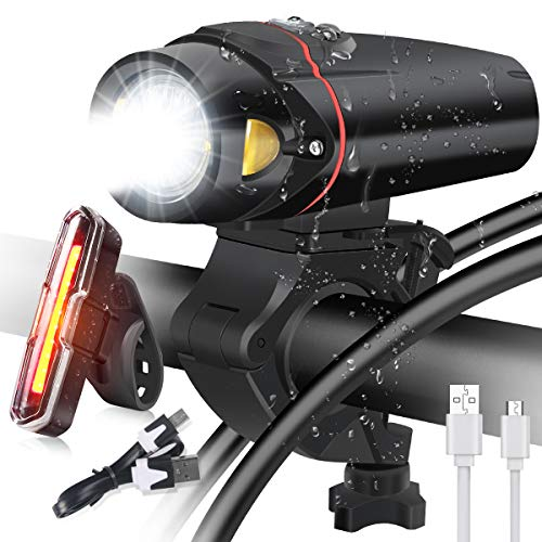 Bike Light set - Waterproof USB Rechargeable LED Bicycle Light Front and Taillight - Easy Install for Kids Men Women Road Cycling Safety Flashlight - Fits All Cyclings, Hybrid, Road, MTB,Night Sports
