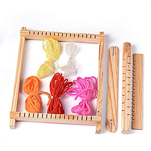 PandaHall Elite 1 Set Wood Knitting Weaving Looms with Yarns, Warp Adjusting Rods, Combs and Shuttles