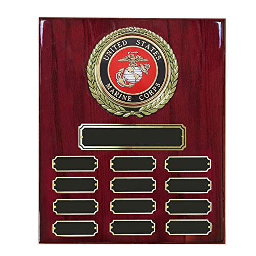 Customizable 9 x 12 Inch Perpetual Cherry Piano Finish Plaque with U.S. Marine Medallion, includes Personalization