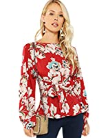 Romwe Women's Floral Print Long Sleeve Self tie Waist Knot Blouse Top Red L