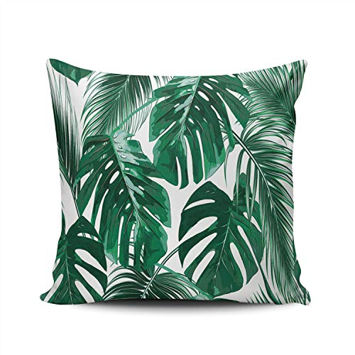 AIHUAW Home Decorative Cushion Covers Throw Pillow Case Tropical Palm Leaves Jungle Green Pillowcases Square 24x24 Inches Double Sided Printed (Set of 1) (Patio Palm Cushions Springs Custom)