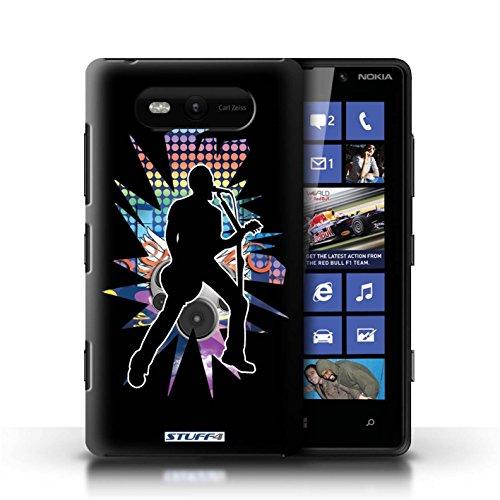 Etui / Coque pour Nokia Lumia 820 / Chanteur Noir conception / Collection de Rock Star Pose