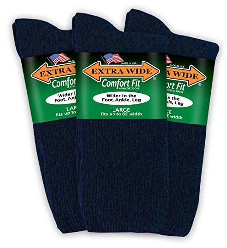 Extra Wide Comfort Fit Athletic Crew (Mid-Calf) Socks for Men - Navy - Size 12-16 (up to 6E wide) - 3PK ()