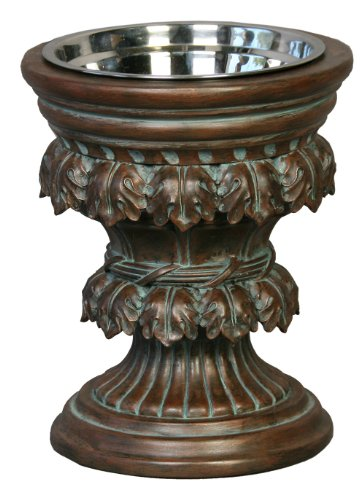 Unleashed Life Baroque Collection Raised Feeder in Oxidized Copper, Large by Unleashed Life