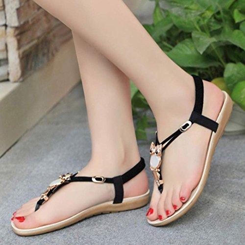 5aed6c363e510 Inkach® Women Summer Sandals Women Rhinestone Owl Sweet Sandals Clip Toe  Sandals Beach Shoes low