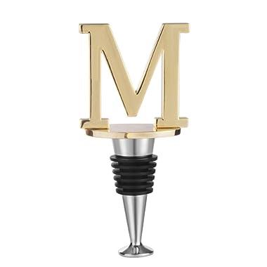 Douzi Monogram Wine Bottle Stopper, Gold Finish, Letter M Initial (M)