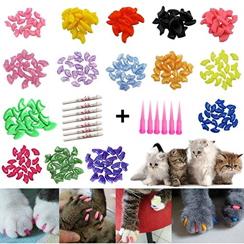 JOYJULY Soft Cat Kitty Nail Caps Claws Covers for Cats Paws Grooming Claw Care, 100pcs 4 Size of 1 Glitter Shinning & 4 Solid Colors & 5 Glues, Kitten