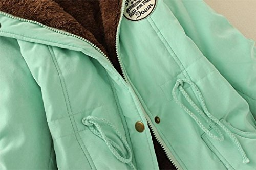 Outwear Coats Coat Long SMILEQ Parka Winter Hooded Warm Slim Collar Jacket Green Womens Artificial Fur 71wpA