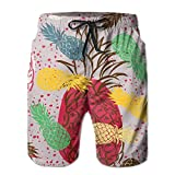 Adults Rainbow Cute Pineapple Hawaiian Shorts Drawstring Quick Dry Board Shorts