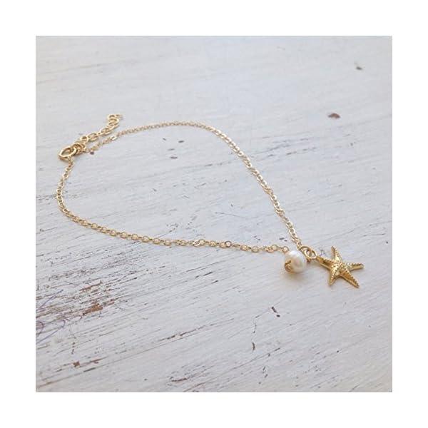 WeiMay 1 x Lovely Starfish Shape cavigliera perla sandalo a piedi nudi accessori da spiaggia piede gioielli 4 spesavip