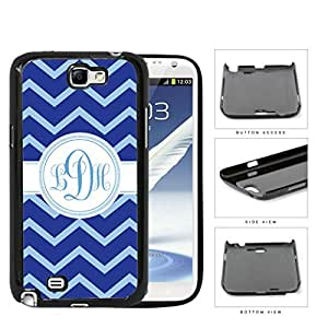 Blue And Light Blue Chevron Monogram (Custom Initials) Hard Plastic Snap On Cell Phone Case Samsung Galaxy Note 2 II N7100