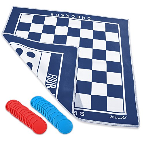 GoSports Giant Checkers & 4 Connect Board Game - HUGE Double Sided Game Mat with Coins for Family ()