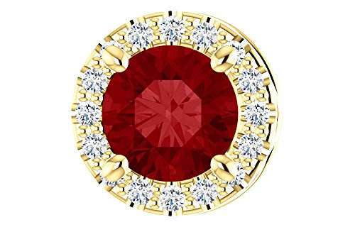 Jewels By Lux 14K Yellow Gold Chatham® Created Ruby & .07 CTW Diamond Pendant Slide - Gold Chatham Ruby Pendant