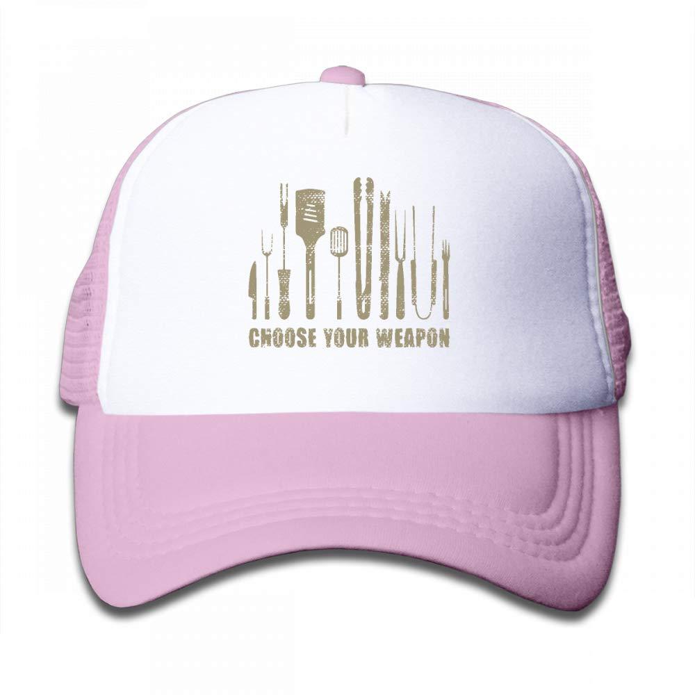 NO4LRM Kid's Boys Girls Choose Your Weapon Chef Kitchen Cutlery Youth Mesh Baseball Cap Summer Adjustable Trucker Hat