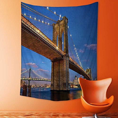 Wall Tapestries Collection Brooklyn Bridge at Twilight in New York City East River Modern Metropolis Tapestry Table Cover Bedspread Beach Towel (Gold Collection Twilight Bridge)
