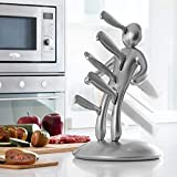 Make Real Kitchen Stainless Steel 6 Piece Knives Set (5 Knives Plus and Acrylic Stand) Name: Men are Jerks! (DJTZ-Silver)