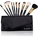 Ancheer Professional Makeup 10 Pcs Cosmetics Brush Set with Synthetic Leather Case