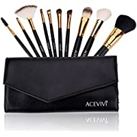 Ancheer Professional Makeup 10 Pcs Cosmetics Brush Set with Synthetic Leather Case (Black)