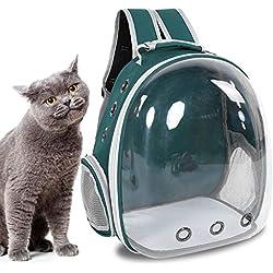 Yoidesu Mochila Portátil para Mascotas, Mochila de Ventilación Múltiple para Bolsas de Aire, Mochila de Cápsulas Space Pet, Mochila para Mascotas Bubble Traveller, Transparente para Gatos(Verde)