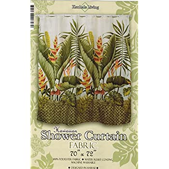 hawaiian tropical fabric shower curtain hawaiian flower