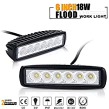 "Turbo 2Pcs 6"" 18W Led Flood Work Light Bar 12volt Lamp Waterproof Ip67 Bar for Off-road SUV Boat 4x4 Jeep Lamp"