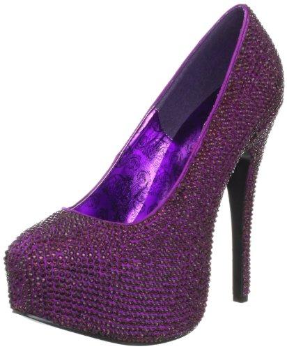 Pleaser Mujeres Teeze 06r Blsa Plataforma Pump Purple Satin Rs