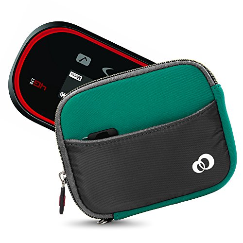 Mini Portable WiFi HotSpot Modem & Router Mobile Carrying Case Sleeve for Verizon, AT&T, Sprint, Virgin Mobile, T-Mobile, MiFi Jetpack 4G LTE + Secure Hand Wrist Strap (Green Grey) (Hotspot Verizon Charger)