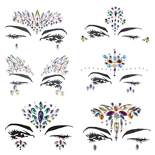 JESWELL Rhinestones Face Jewels Festival, 6 Sets Mermaid Rave Face Gems Stick On Glitter for Party Music Festivals (6 Sets)