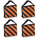 PhotoTrust 4Pack Orange Heavy Duty Sandbag Sand Bag Saddlebag Weight Bags Saddle Bag Holds 20 LBS for PHOTO VIDEO STUDIO STAND
