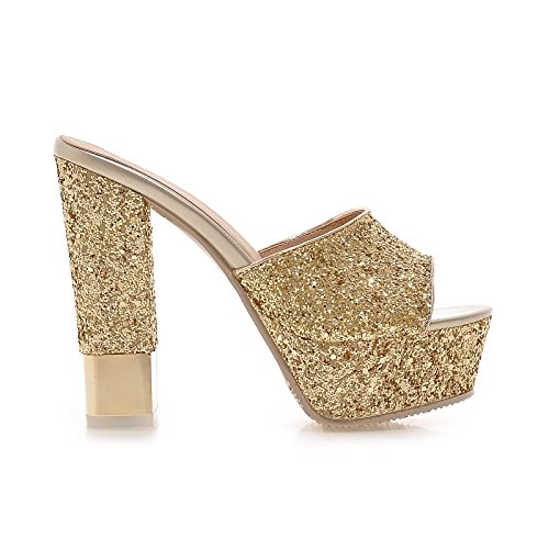 ZHZNVX Womens Shoes Paillette Summer Fall Comfort Basic Pump Sandals Chunky Heel Peep Toe Sequin for Dress Party,Evening Gold White Black