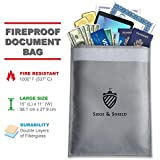 "Siege & Shield Fireproof Document Bag Large 15""x 11"" Water Resistant Non-Itchy Silicone Coated Fire Resistant Cash Bag Safe Storage - Protect Money, Valuables, Documents, Jewelry, Passport"