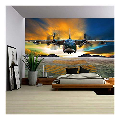 wall26 - Military Plane Landing on Airforce Runways Against Beautiful Dusky Sky - Removable Wall Mural | Self-Adhesive Large Wallpaper - 100x144 inches ()