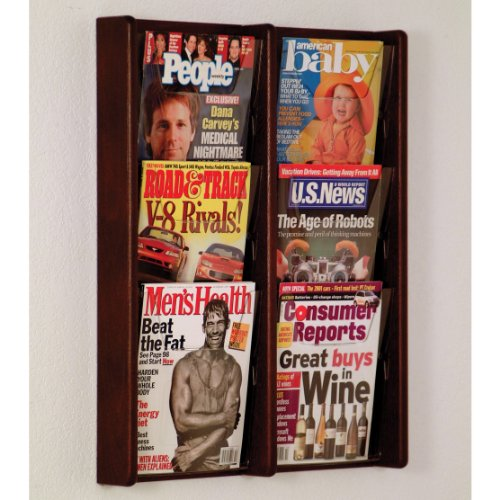 DMD Literature Display, 6 Pocket, Solid Oak and Acrylic Wall Mount Rack, Mahogany Wood Finish