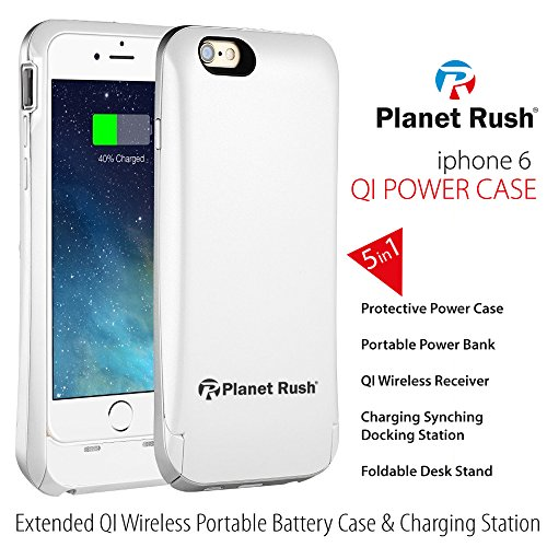 iPhone 6 6S 5-in-1 Qi Wireless Battery Case Receiver Apple MFi Certified & Hard Shell Protective Case & Portable Power Bank & Foldable Charging Dock & Synching Station with Synchronous Charging (Folding Headphone Titanium)