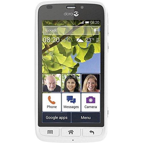 Doro Liberto 820 3G Smartphone (11,4 cm (4,5 Zoll) Touchscreen, 8 Megapixel Kamera, GPS, Bluetooth 4.0, WiFi, Android 4.4) mit Experience Benutzeroberfläche weiß