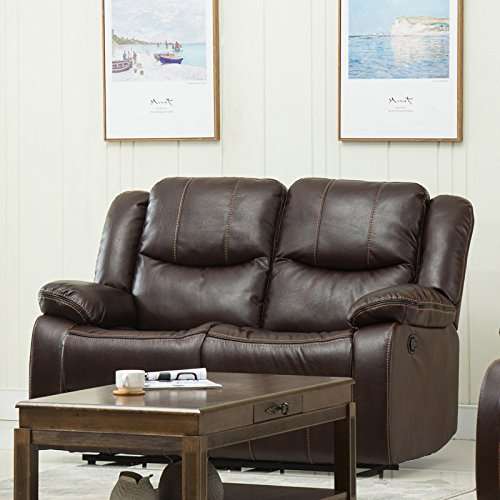 Container Furniture Direct S6038-L Royal Albert Classic Faux Leather Upholstered Gliding Reclining Loveseat, Brown