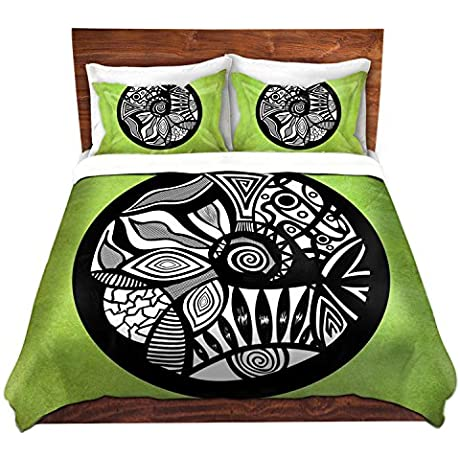 DiaNoche Designs Abstract Circle Verde Cover 8 King Duvet Sham Set